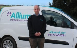 Asbestos Surveys Bristol - Steve Collard in front of the Bristol Asbestos Survey and Legionella Testing van