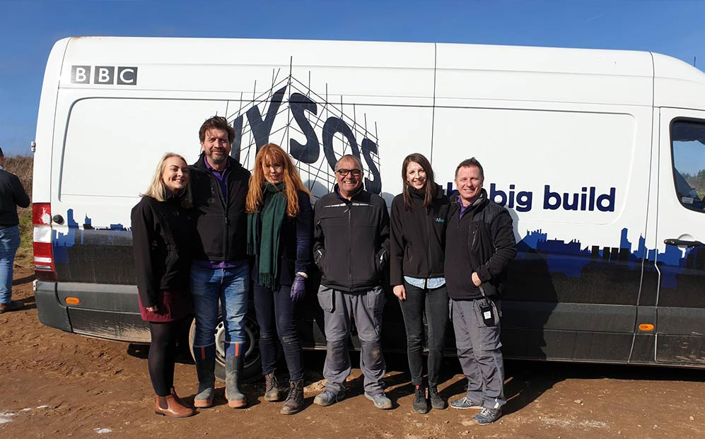 The Allium team with the BBC's DIY SOS team after an asbestos survey in Cornwall