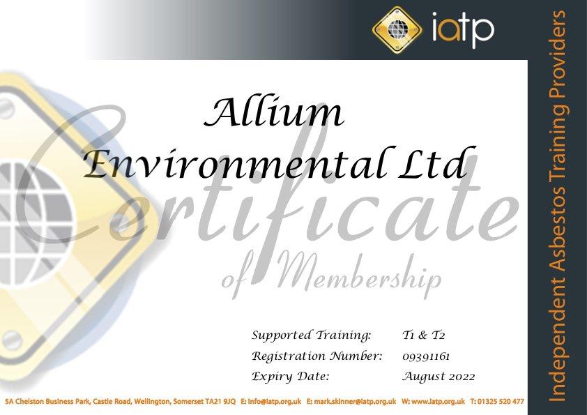 IATP Asbestos Training Certificate